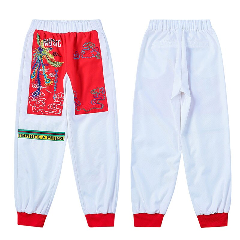Vintage Casual Embroidery Harem Women Pants Sports High Waist Casual Harajuku Pants Panelled Plus Size Pants S006