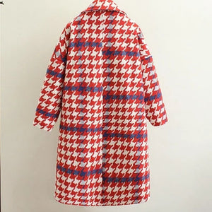 Warm Cashmere Plaid Padded Woolen Coat Winter Women Wool Blend Coat Long Trench Outerwear Winter Jacket Ly03