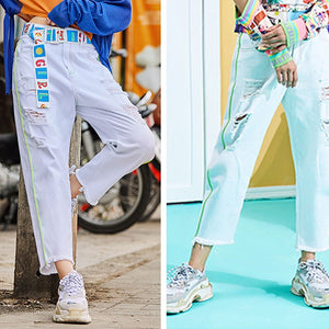 White Hole High Waist Jeans Women Plus Size Jeans Waist Bandwidth Loose Straight Cowboy Nine Pants Ss01
