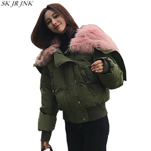 Winter Fur Hooded Jacket Women Pink Thicken Parka Furry Warm Padded Coat Casual CottonPadded Waterproof Clothes Pw37