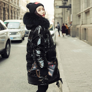 Winter Jacket Coat Women Glossy Large Fur Collar Parka Plus Size White Duck Jacket Short Loose Feather Overcoat Ss027