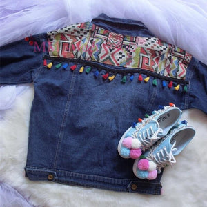 Woman Embroidery Denim Coats Jean Tassels Jacket Casual Slim Fit Chaquetas Mujer Retro Wyf19