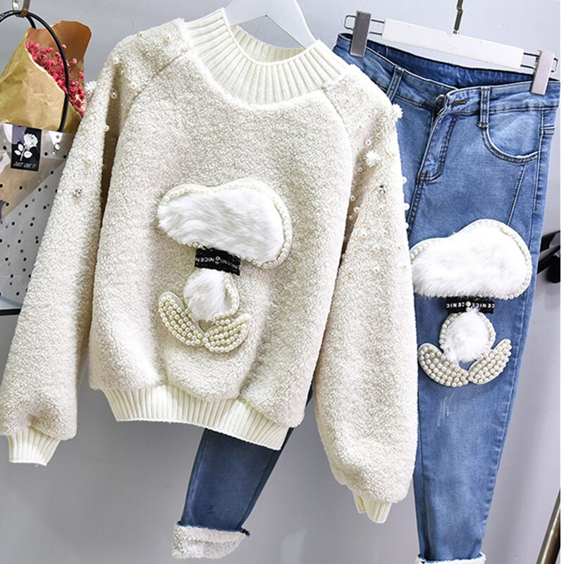 Women Autumn Winter 2 Piece Sets Sequins Pearls Knitted Sweater +Jeans Pants Pullover Cashmere Blend Suits Lyl339