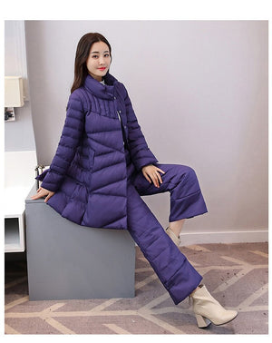 Women Autumn Winter 2 Piece Sets Padded Jacket+Cotton Pant Lady Casual Wadded Coat Warm Wide Leg Pants Suit Lal30