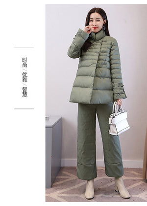 Women Autumn Winter 2 Piece SetsPadded Jacket+Cotton Pant Lady Embroidery Wadded Coat Warm Wide Leg Pant Suil Al31