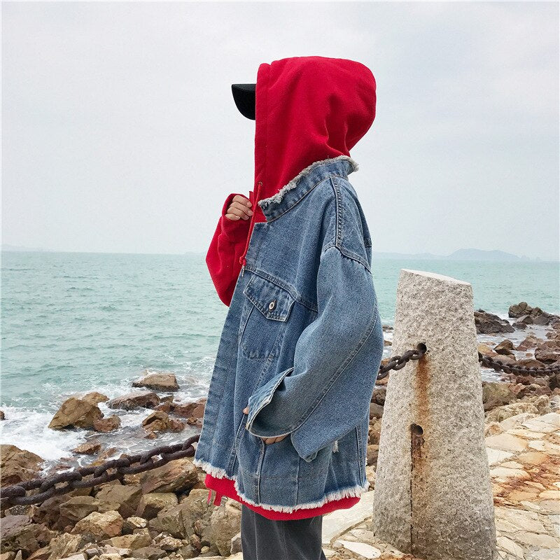 Women Denim Hooded Jacket Lady Jeans Stitching Windbreaker Spring Autumn Irregular Basic Coat Loose Casual Coat Lyl283