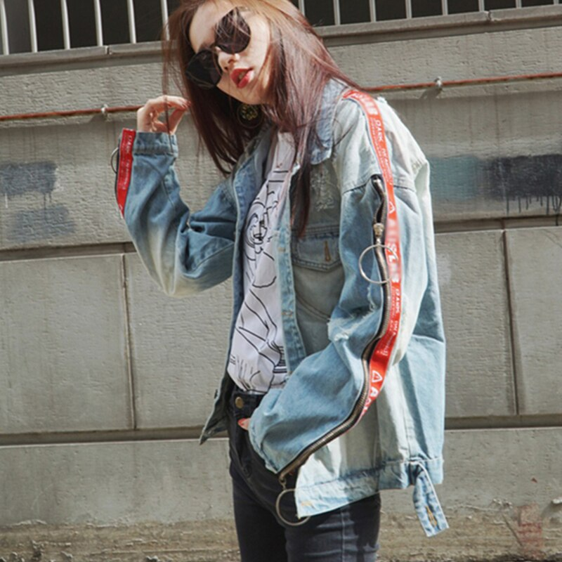 Women Denim Jackets Spring Autumn Hole Zipper Frayed Hoop Jean Basic Coats Vintage Loose Slim Chaquetas Mujer Wyf66
