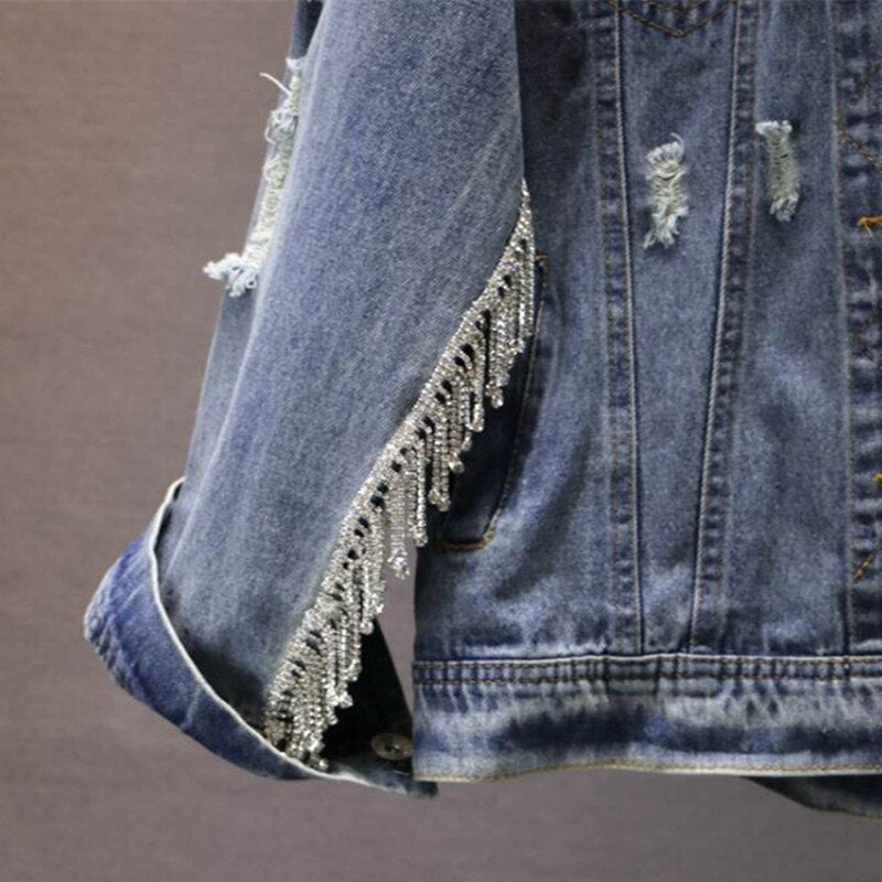 Women Denim Jackets Spring Autumn Zipper Frayed Hoop Jean Basic Coats Vintage Loose Slim Chaquetas Mujer Hcy209