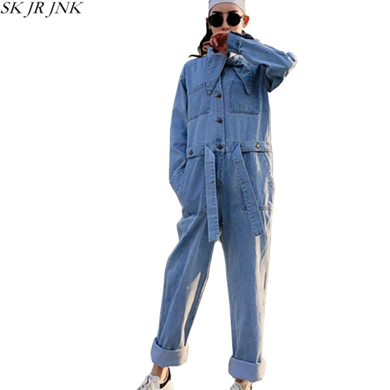 Women Denim Jumpsuits Spring Autumn Loose Casual Long Sleeve Jeans Overalls Embroidery Harajuku Pocket Pants Hcy103