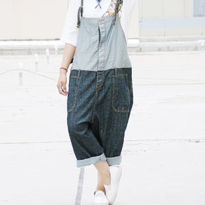 Women Denim Jumpsuits Ladies Jeans Patchwork Overalls Loose Casual Splcing Pants Trousers Rumpers Sr197