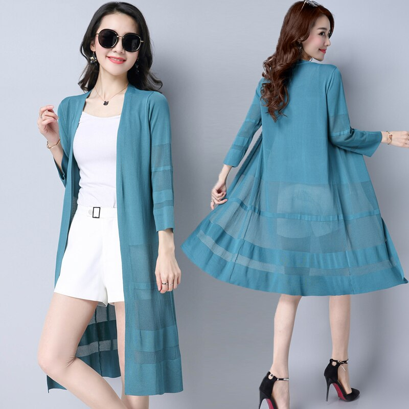 Women Knitted Sweater Long Cardigans Spring Summer Plus Size Casual Office Lady Long Sleeve Knitwear Coat Cotton Sr441