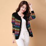 Women Knitted Sweater Spring Autumn Short Loose Embroidery Coat Casual Button Cardigan Office Lady Sweater Jacket Rs124