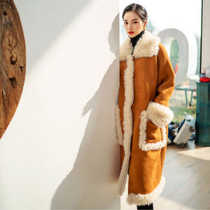 Women Lamb Moose Suede Noble Wool Coat Thick Warm Parka Long Winter Jacket Caramel Color Overcoat Tops Ss038