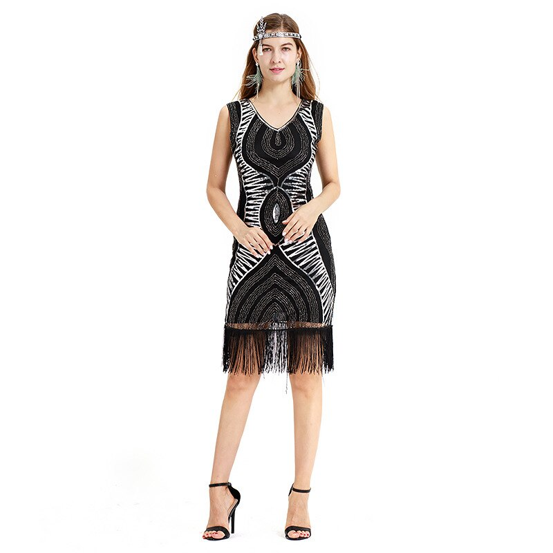 Women Lantin Dance Dresses Flapper Dress Sequins Costume Fringe Dinner Party Formal Gowns Ballroom Dresses Vintage