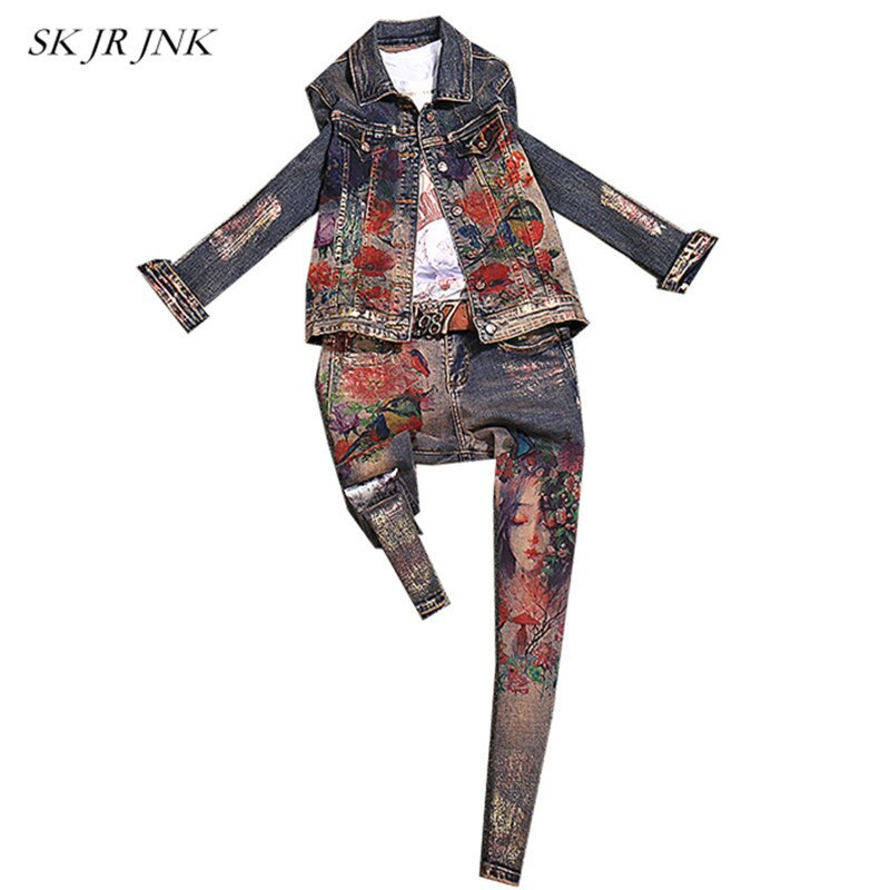 Women Spring Autumn 2 Piece Set Casual Denim Jacket Trousers Two Piece Outfits Bronzed Print Jeans Tops Pants Sets Sr312