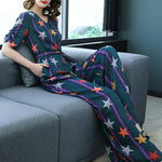 Women Spring Autumn Chiffon Rompers Long Star Print Belt Jumpsuits Casual Loose VNeck Wide Leg Long Pants Sr285