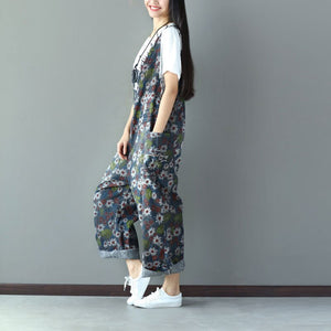 Women Spring Autumn Denim Jumpsuits Long Casual Loose Flower Printed Overalls Pockets Jeans Jumpsuits Rompers Sr194