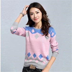 Women Spring Autumn Knitted Sweater Long Casual Loose Warm Embroidery Knitwear Plus Size Plaid Sweaters Femme Sr272