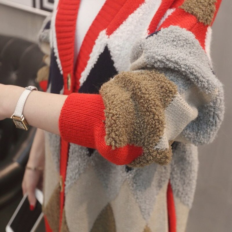 Women Spring Knitted Sweater Autumn Casual Loose Rhombus Lattice Stitching Button Cardigan Office Lady Sweater Rs131