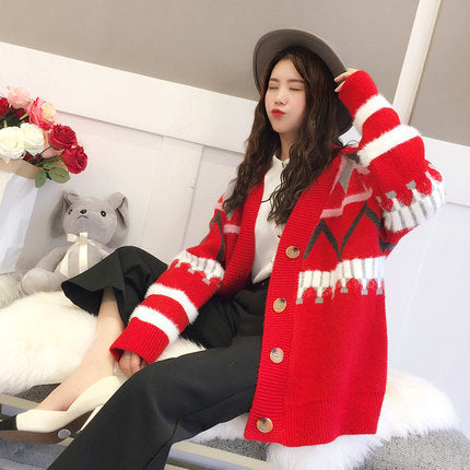 Women Spring Knitted Sweater Autumn Casual Loose Thicken Stripe Embroidery Button Cardigan Office Sweater Rs133