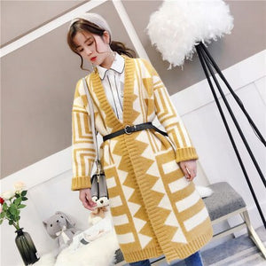Women Spring Knitted Sweater Autumn Long Open Cardigan Loose Coat Casual Oversize Striped Office Lady Sweater Rs134