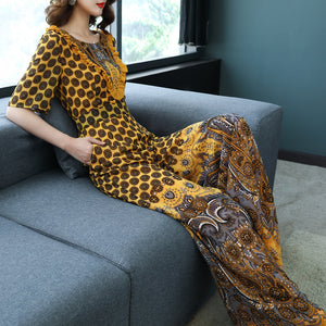 Women Spring Summer Chiffon Jumpsuits ONeck Print Wide Leg Plus Size Rompers Casual Loose Long Pants Rompers Sr284