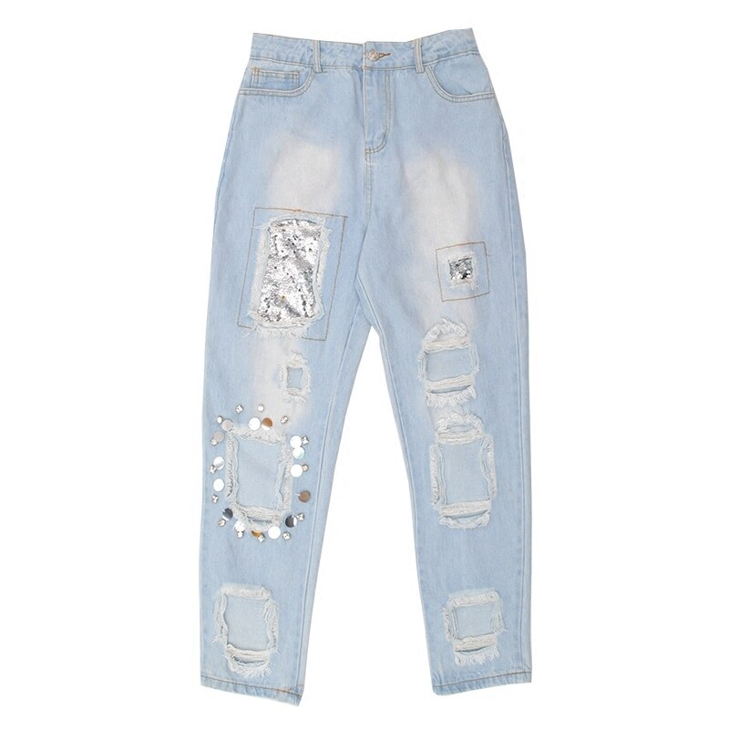 Women Summer Denim Pants Personal Casual Hole Sequins Skinny Pants Blue Riped High Waist Slim Fit Jeans Trousers Sr300