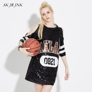 Women Summer TShirt Dress Black White Letter Print Off Shoulder Loose Sequins Straight T Shirt Casual Party Dresses Sr169