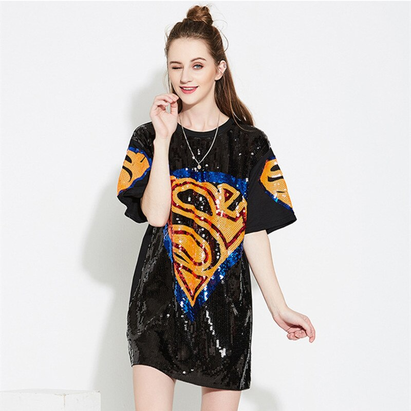 Women Summer TShirts Dress Long Casual Loose Print Bling Sequins Party Club Tee Shirt Mini Dresses Vestidos Rs168