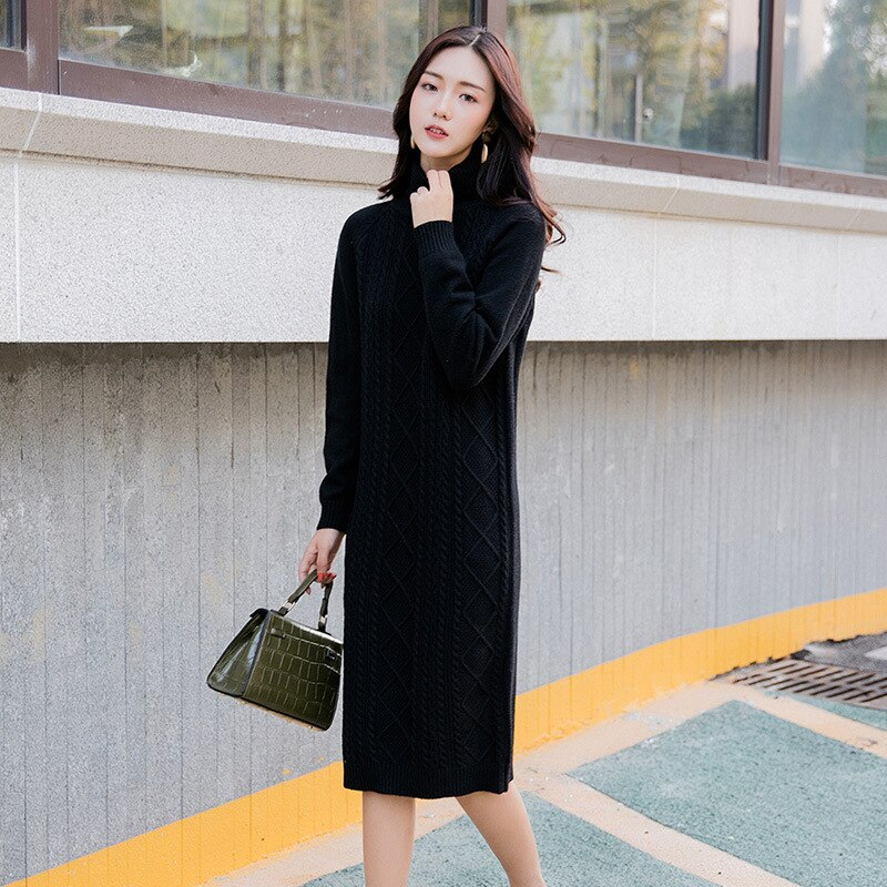 Women Turtleneck Pullover Sweaters Autumn Package Knitwear Hip Dress Long Blouses Mujer Knitted Dress Pw63