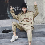 Women TwoPiece Suit Spring Autumn Hooded Sweater+Beam Pants Camouflage 2 Piece Sets Casual Harajuku Suits Ss044