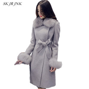 Women Warm Winter Wool Coat Solid Fur Collar Tie Belt Wool Blend Jacket Thicken Velvet Woolen Casacos Femininos Sr339