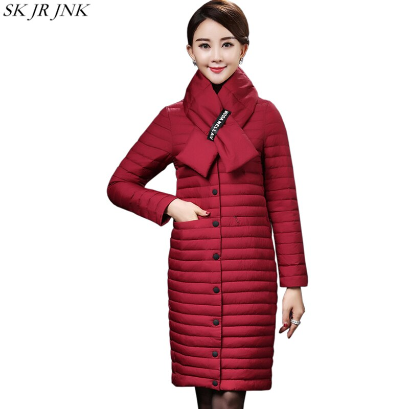 Women White Duck Down Coat Winter Thin Wadded Down Jacket Loose Casual Waterproof Cotton Padded Coat Wq495