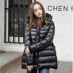 Women White Duck Down Coat Winter Warm Hooded Wadded Down Jacket Loose Casual Waterproof Cotton Padded Parkas Rs58