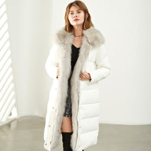 Women White Duck Down Coat Winter Warm Hooded Wadded Down Jacket Loose Waterproof Fur Collar Cotton Padded Parkas Rs65