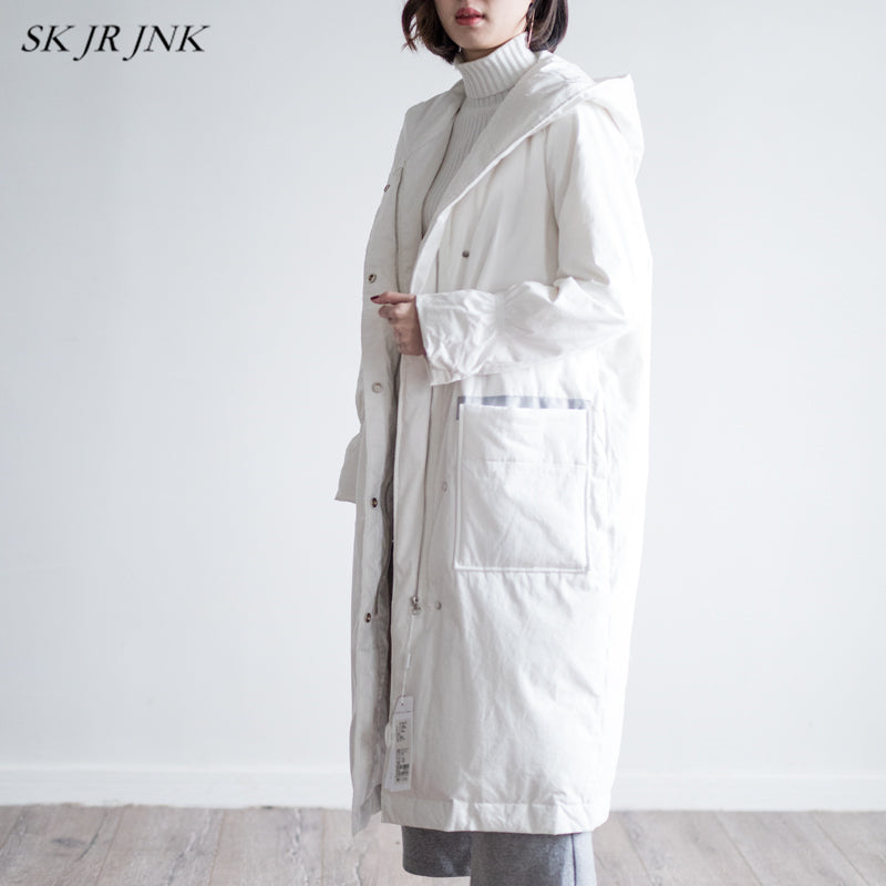 Women White Duck Down Parkas Winter Warm Hooded Down Jacket Loose Casual Waterproof Long Coat Cotton Padded Lyl287