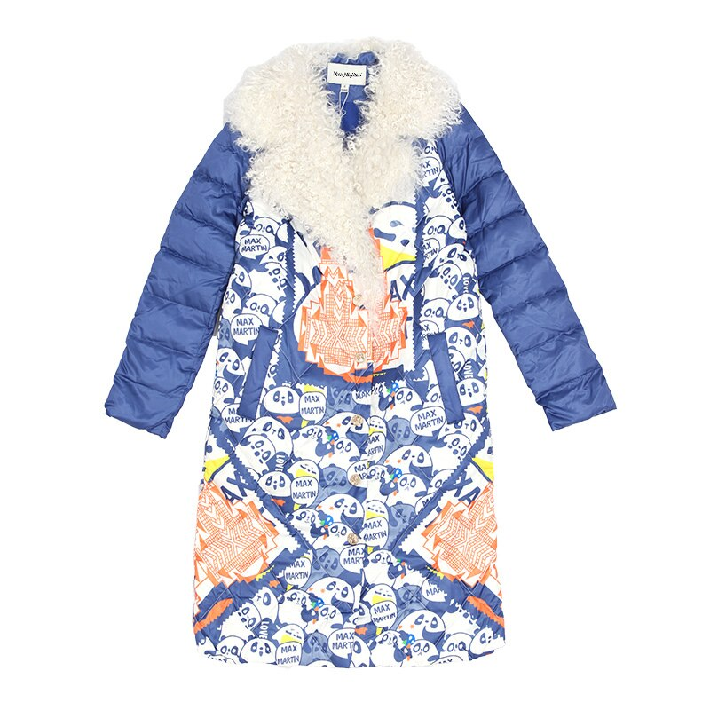 Women Winter Thicken Warm Windproof Down Jacket Casual Cartoon Print Tailored Collar White Duck Down Parka Lw97