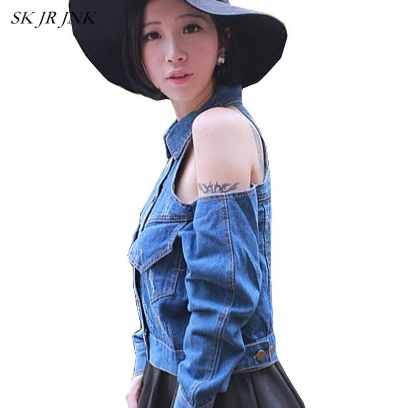 Women'S Spring Summer Jeans Coat Casual Loose Shrot Solid Pocket Windbreaker Strapless Denim Basic Jacket Woman Sr465