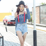 Women'S Spring Summer Jeans Coat Casual Loose Solid Off Shoulder Overcoat Long Sleeve Short Denim Basic Jacket Sr464