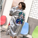 Women'S Shirt Spring Summer Turn Down Collar Silvery Loose Shirt Cartoon Sequins Casual Personality Blouse