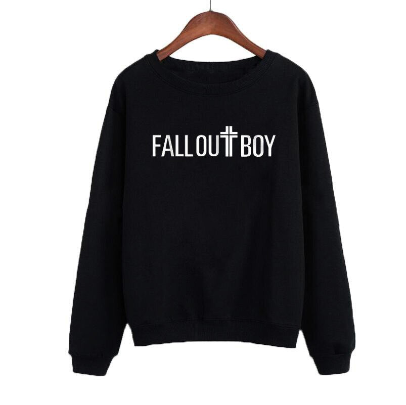 Fall Out Boy Albums Printing Sweatshirt Letters Hoodies Women Autumn Long Sleeve Pullover Black White