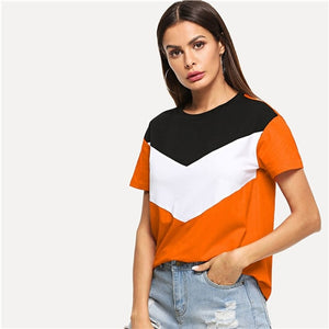 SweatyRocks Cut and Sew Tee Multicolor Short Sleeve Round Neck Patchwork Casual Tops Women Summer Athleisure Colorblock T-shirt