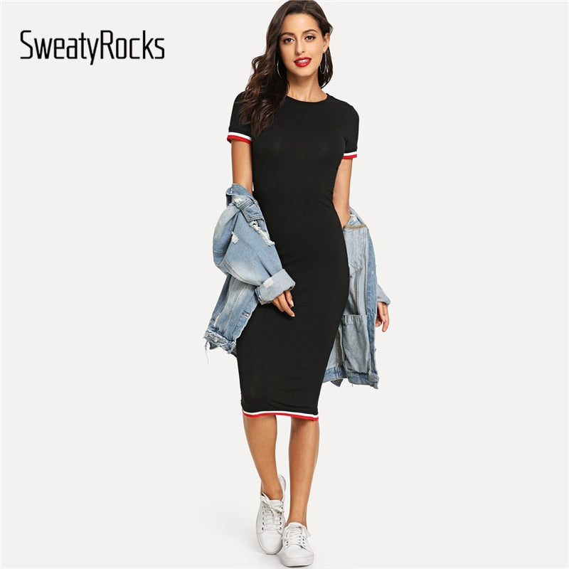 SweatyRocks Striped Trim Tee Dress Streetwear Round Neck Women Casual Clothes 2019 New Spring Summer Bodycon Long Dress