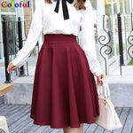 2019 New Fashion Women Cotton Space Knee-Length Big Swing Umbrella Skirt High Waist Vintage Ladies Midi Saia Skater Skirt 7340