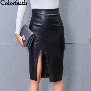 New 2019 Women Midi Skirt PU Leather Black High Waist Asymmetrical Sexy Slit Pencil Skirt Bodycon Elegant Femininas SK8673