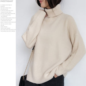 2019 Colorfaith Women Pullover Sweater Knitting Autumn Winter Casual Solid Turtleneck Vintage Ladies Thick Tops SW1027
