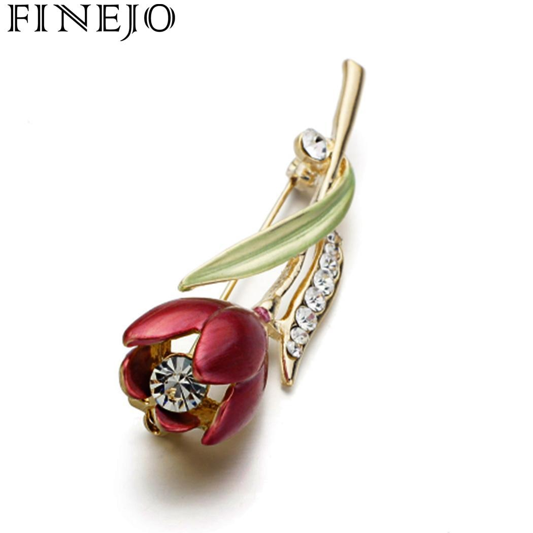 FINEJO Flower Brooch Fashion 3D Vintage Red Tulip Flower Artificial Brooch Pin Vintage Jewelry Accessory Gift for Women