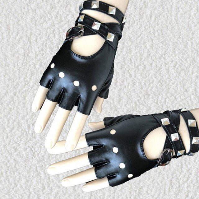Gothic Punk Lady Women Sexy Disco Dance Rock-and-roll Fingerless Short PU Leather Gloves Black Red White