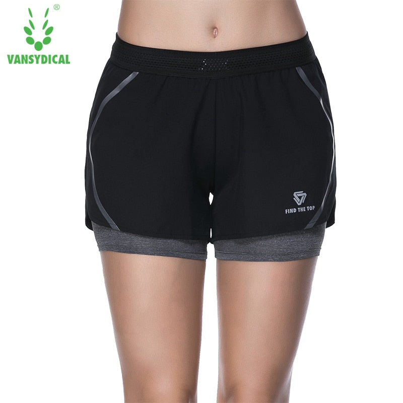 VANSYDICAL Women Running Jogging Shorts Sports Yoga Sportswear False Two Pieces Fitness Exercise Gym Compression Shorts Clothes