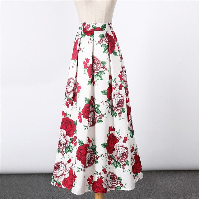 2017 New Satin Women 100cm High Waist Flared Maxi Skirts Peach Blossom Printed Pleated Floor Length Long Skirts Saias SP041